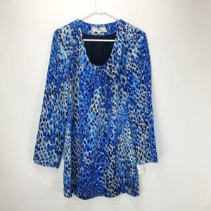 Tibi Silk Long Sleeve Shift dress Blue Animal